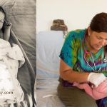 home birth midwife performs newborn exam while mom looks on