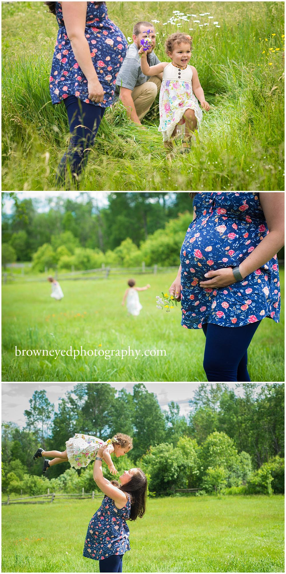 children with pregnant woman wearing floral shirt
