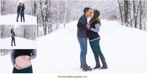 winter scene with couple kissing
