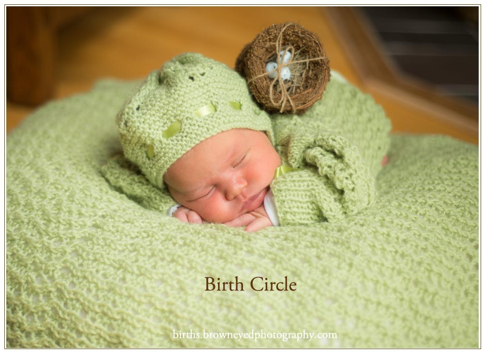 newborn baby wearing green with bird's nest